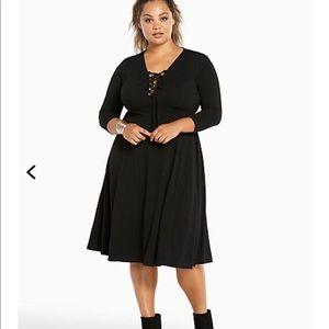 torrid Dresses - Torrid 0 lace up neck knit midi dress bnwt